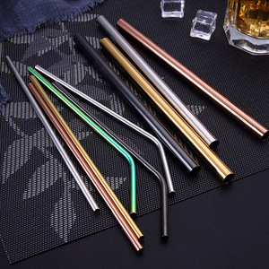 304 Stainless Steel Straw Straight and Bent Black Silver Rainbow Color Bar Accessories Long Stainless Steel Drinking Straws