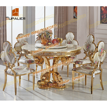 Heavy-duty Royal Gold Round Marble Dining Table And Chairs - Buy Round  Marble Dining Table Set,Round Dining Table With Leather Chairs,Dining Round  ...