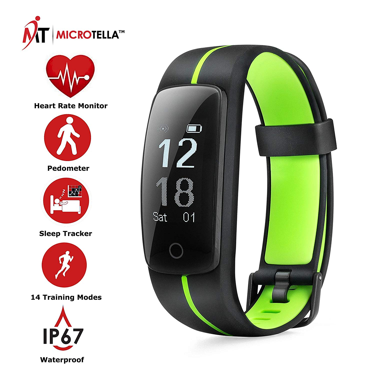 MICROTELLA Fitness Tracker Waterproof, Smart Activity Watch, Smart Band with Step Counter, Calorie Counter Watch, GPS Band, Fitness Tracker With Heart Rate Monitor, Pedometer Watch for iOS and Android