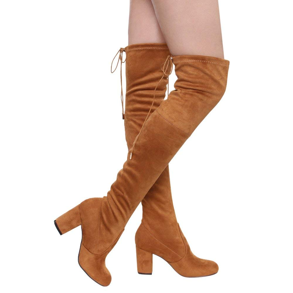 cae650b3539 Get Quotations · ShoBeautiful Women s Thigh High Boots Stretchy Over The  Knee Chunky Block Heel Boots
