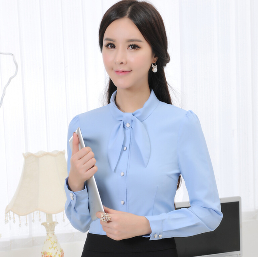e2850c71d55d Get Quotations · 2015 Fashion women s slim bow shirt Elegant female long- sleeve chiffon blouses OL work wear
