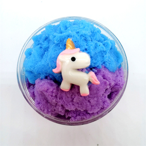 new style unicorn brushed mud blue silk mud slime children playing decompression DIY toys