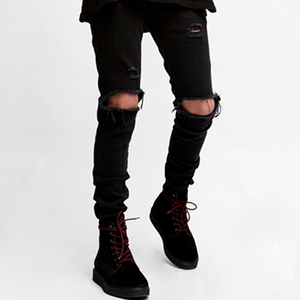 new model Super Skinny Fit black Distressed denim man jeans pant with Rip Knee brand logo
