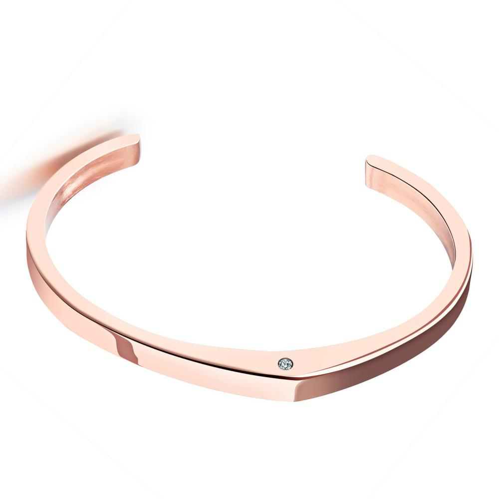 New 3pcs/lot Stainless Steel Cuff Bangle rose gold color plated pave cubic zirconia bracelet cuff