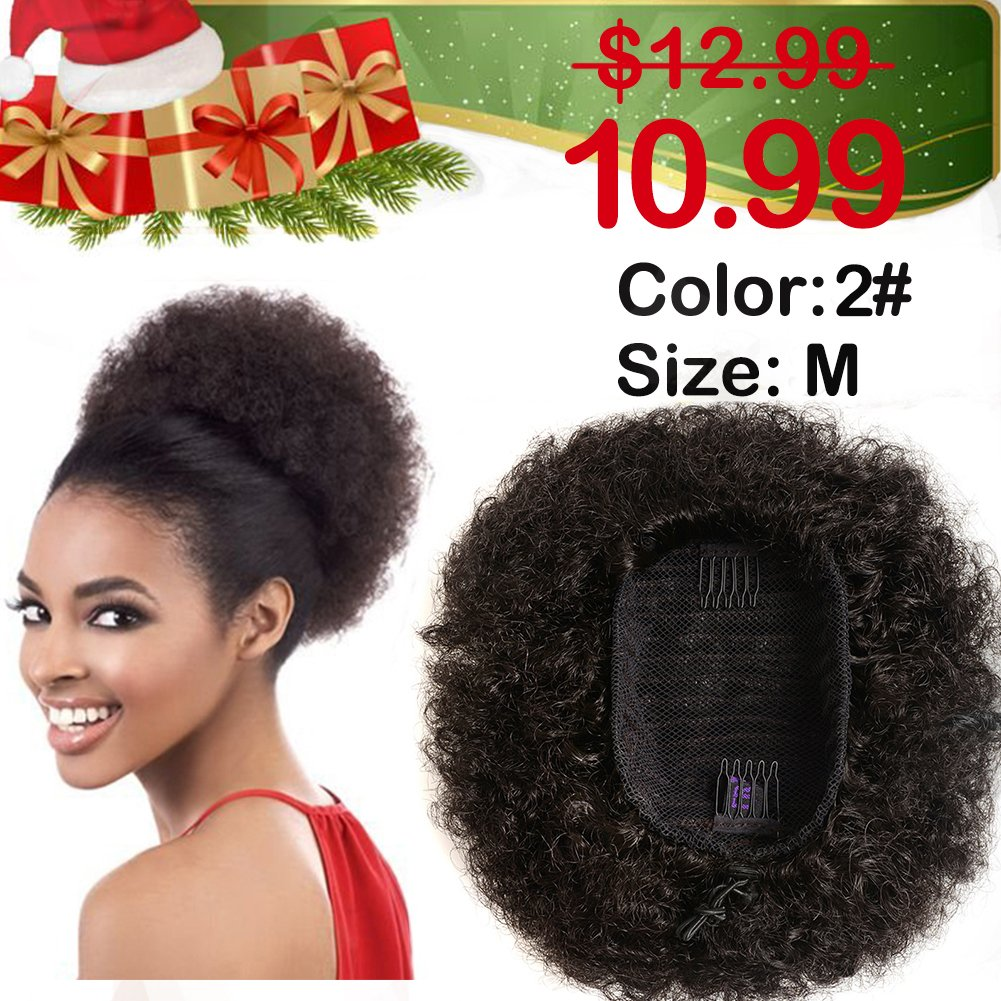 Synthetic Curly Ponytail,Short Elastic Drawstring Ponytail African American Afro Kinky Curly Hair Extension, Puff Ponytail Hair with Clips(Color 1#)