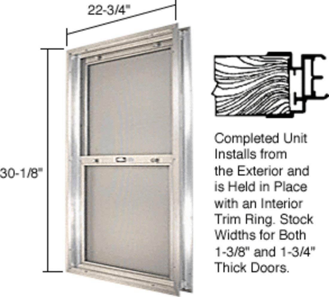"C.R. LAURENCE BAP284 CRL Satin Anodized 22-3/4"" x 30-1/8"" Bel-Air ""Plaza"" Combination Door Unit With Clear Tempered Glass and Mill Frame for 1-3/4"" 2-8 Slab Door"