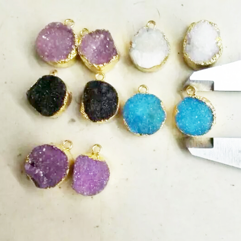20mm Round Coin Shape Gold Plated Bezel druzy geode pendant charm