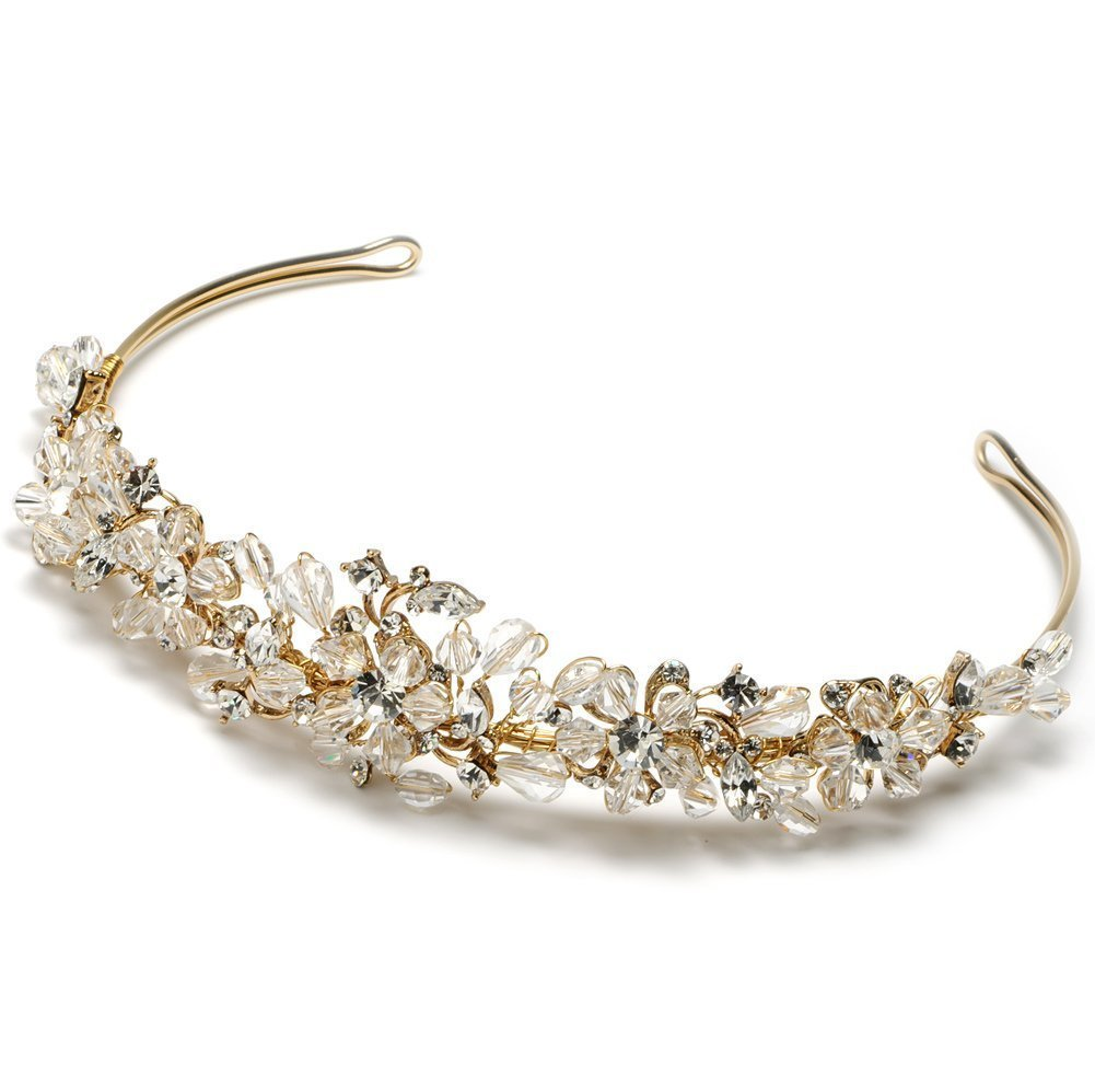 Elegance Collection - Colored Rhinestone Bridal Tiara Wedding Headband - Gold