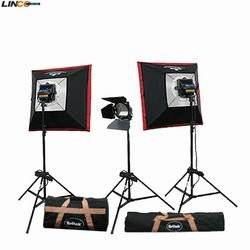 Professional Photography video 3600w Digital/Video 3 Twin Halogen Light Kit+6 bulb+3 Compact Light Stand+2 Softbox+1 Barndoor+2 Carrying Bag By Britek#3600THK