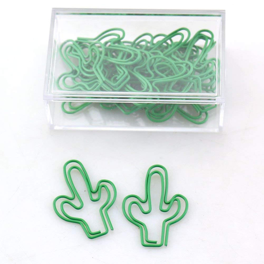 OUTU big size 20pcs/box green/gold Cactus Shape Paper Clips Funny Kawaii Bookmark Office School Stationery Marking Clips H0117 (green 1)