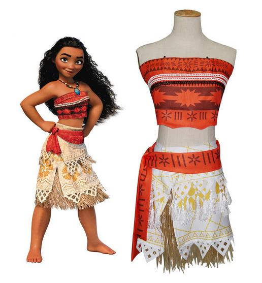 Halloween New Movie Moana Costume Moana cosplay dress for Kids Adults