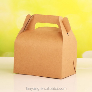 Brown Kraft Gable Box - Favor Box, Lunch Box, Picnic Box Take Out cake Box with handle