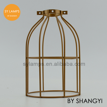 Vintage Style Iron Lamp Cage Iron Bird Round Wire Lamp Cage For ...