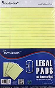 "USA Wholesaler- 25666147-Junior Legal Pad - Yellow Paper - 5""x8"" -3 pk Case Pack 48"
