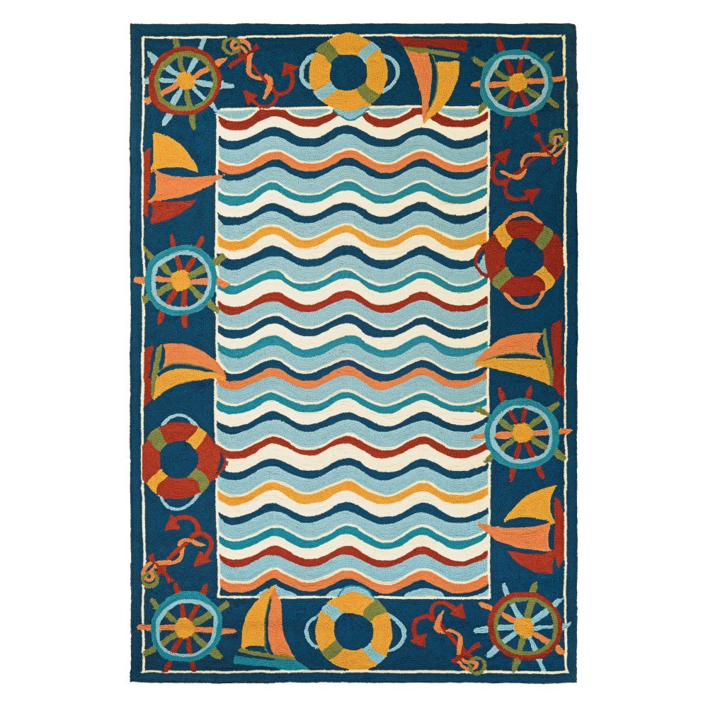 Couristan Beachfront North Bend Round Rug, 2'6 x 8'6'', Multicolor