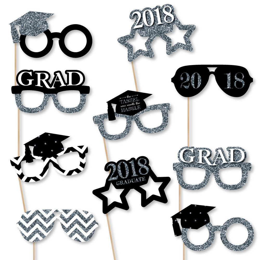 Big Dot of Happiness Silver Glasses - Tassel Worth The Hassle - 2018 Paper Card Stock Graduation Party Photo Booth Props Kit - 10 Count