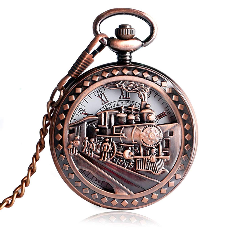 Vintage Pocket Watch, Locomotive Train Mechanical Hand Wind Pocket Watch for Men, Skeleton Pocket Watch Gift