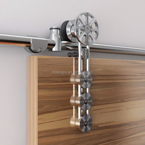 stainless steel sliding barn wood door hardware movable spoke wheel brushed barn door sliding track kit