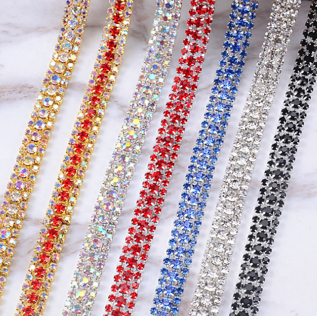 Handmade Crystal 3 Rows Stone Chain Wholesale Shinny Rhinestone Cup Chain