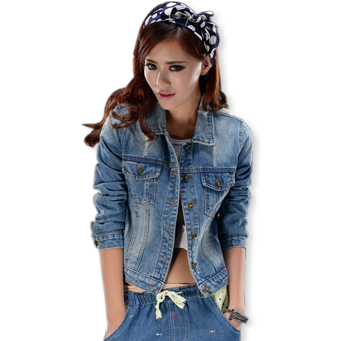Spring New Women Hole Ripped Washed Denim Jacket 2015 Ladies Turn Down Collar Frayed Full Sleeve Jackets Coat Jaqueta Feminina