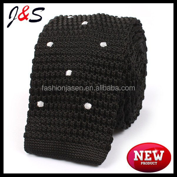 Men's polyester black knitted tie with white polka dots KT026