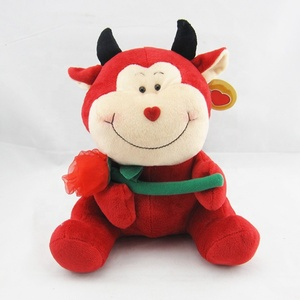Custom walking round plush toy moo pink cow doll