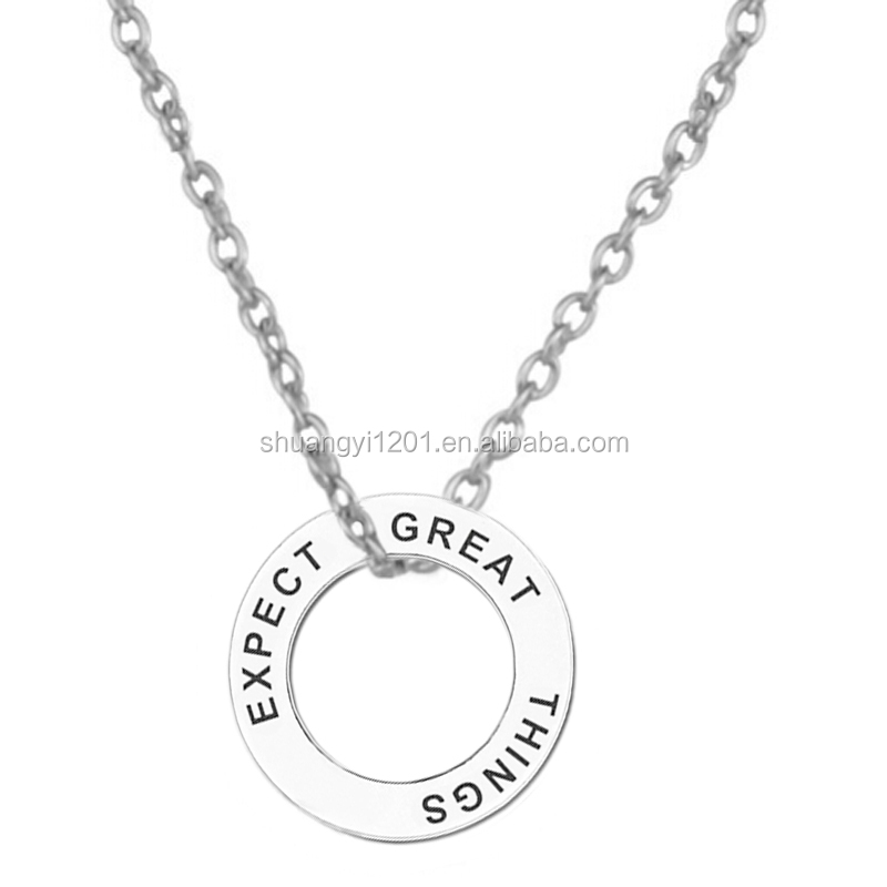 Personalized Engraved Name Circle Expect Great Things Necklace Fashion Motivation Jewelry