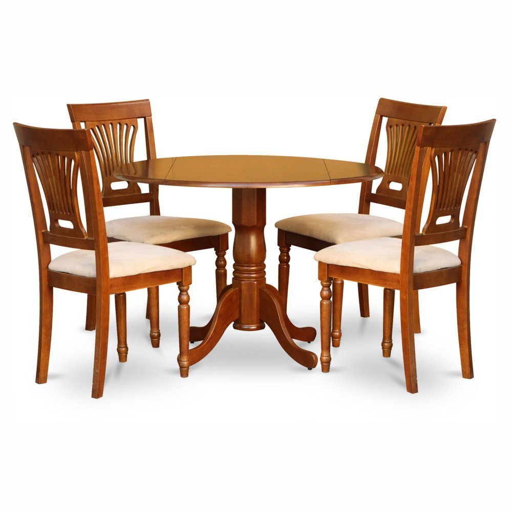 East West Furniture Dublin 5 Piece Drop Leaf Dining Table Set with Plainview Microfiber Seat Chairs