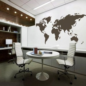 Hot-selling World Map Wall Decal Whole Removable PVC Vinyl World Map Wall Paper Decoration Sticker