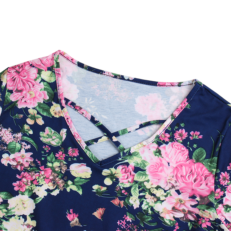 Women's Casual Floral Printing Chiffon T-Shirt Short Sleeve Tops Blouse