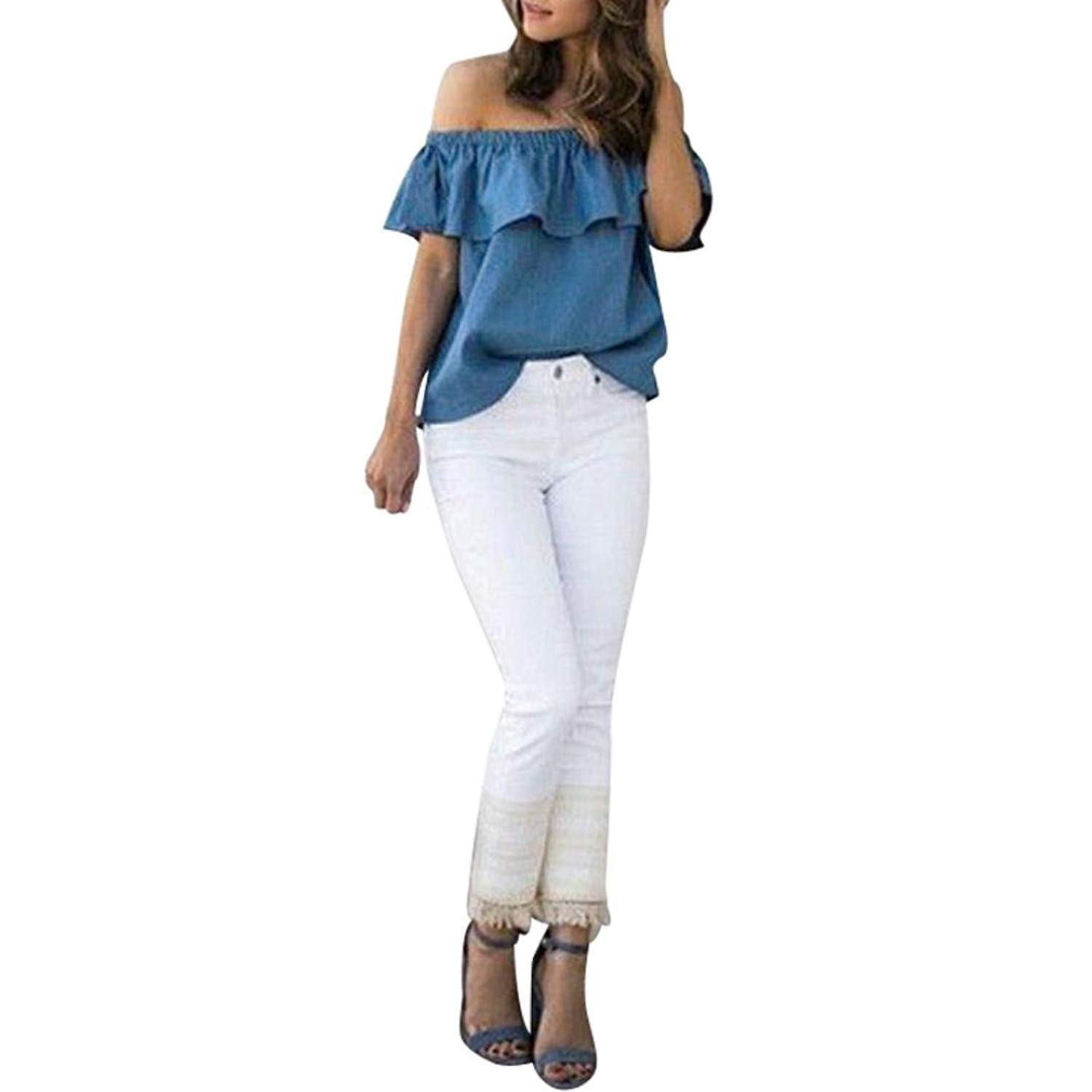 Women Sexy Summer Off Shoulder Tops Casual Party Shirt By Fimkaul