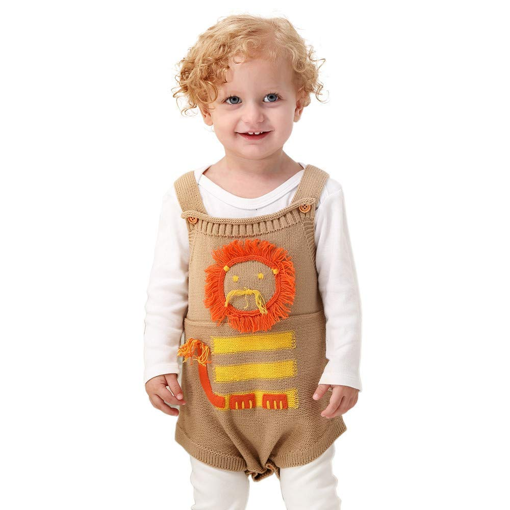 Outtop(TM) Baby Boys Girls Knitted Jumpsuit Toddler Newborn Shortsleeves Fall Winter Warm Lionet Rompers Outfits