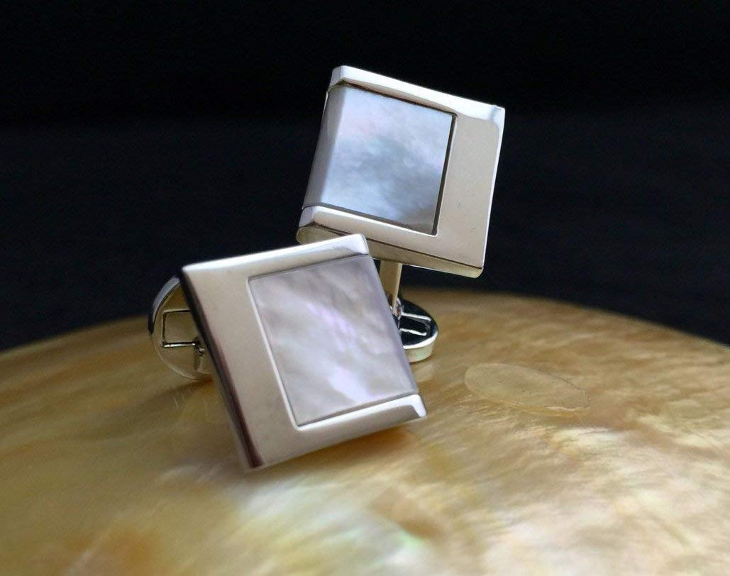 Genuine Mother of Pearl Cufflinks, Wedding Cufflinks with Mother of Pearl inlay, Mens Cufflinks, Unique Cufflinks Birthday Wedding Anniversary Gift for Him