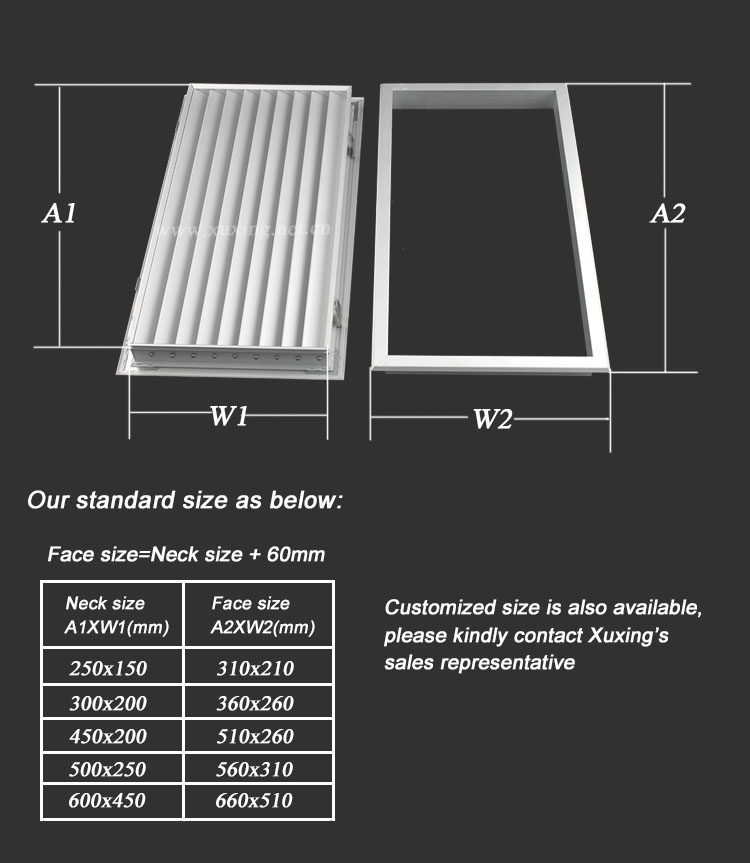 Quality Products Hvac Aluminium Door Vents For Interior