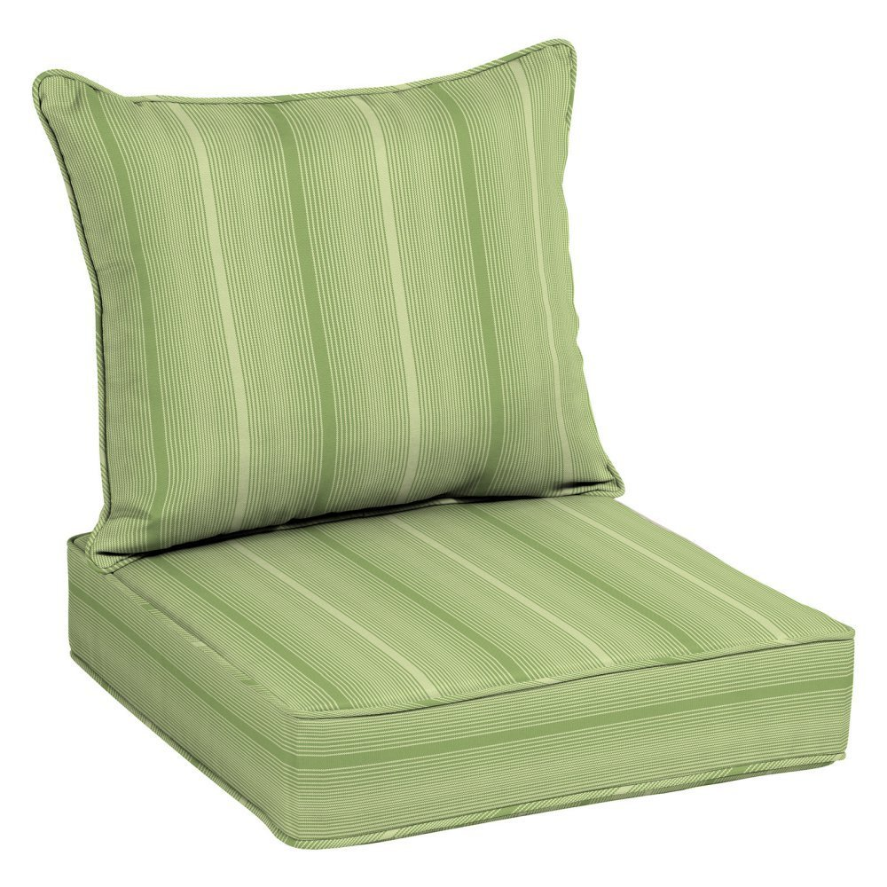 "Home Improvements Green Stripe Outdoor Deep Seat Cushion Set Patio Chair Seat Back Back: 21"" L x 25"" W x 7.5"" H Seat: 25"" L x 25"" W x 6"" H in."
