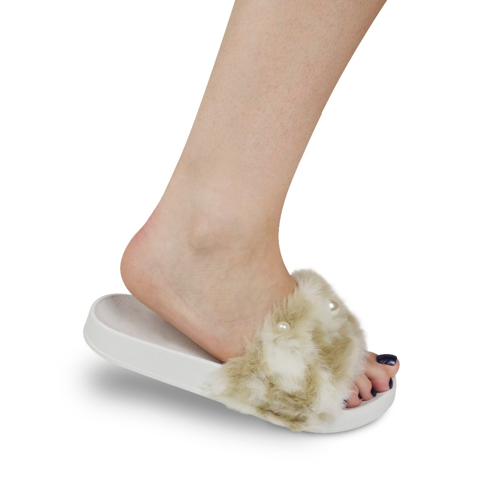 White pearl embellished faux animal fur summer sandals EVA sole slipper outdoor flip flop for women