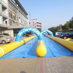 2017 hot-sale kids/adults slide the city yellow and blue 100 meters long inflatable water slide