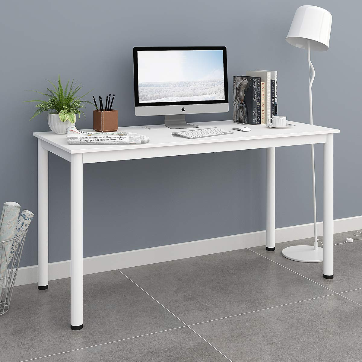 "DEVAISE Computer Desk 55"" Large Size, Home Office Desk with Cable Organizer / White"