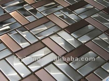 billige edelstahl ziegel spiegel metall mosaik fliesen. Black Bedroom Furniture Sets. Home Design Ideas
