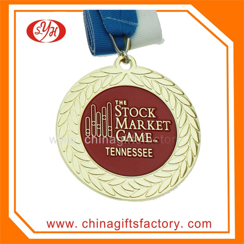 Metal Crafts production zinc alloy gold plated award custom china cups medal with ribbon