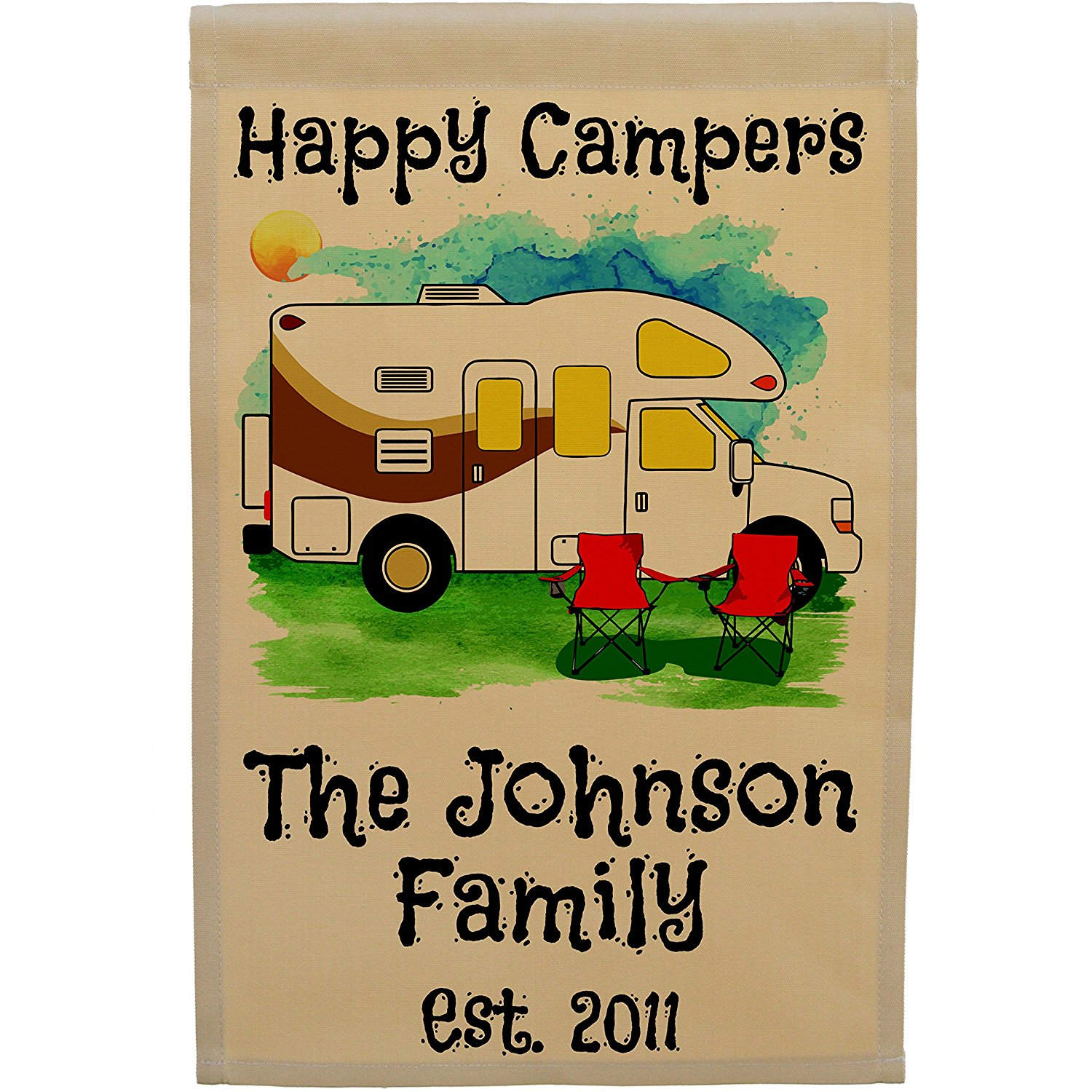 Personalized Happy Campers Class C Motorhome Camping Flag, Watercolor Design (Tan Fabric, Brown Trim Color)