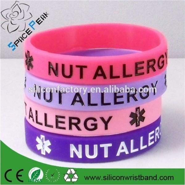 hochwertigem silikon allergie armband custom made medizinische gummi armb nder armring produkt. Black Bedroom Furniture Sets. Home Design Ideas