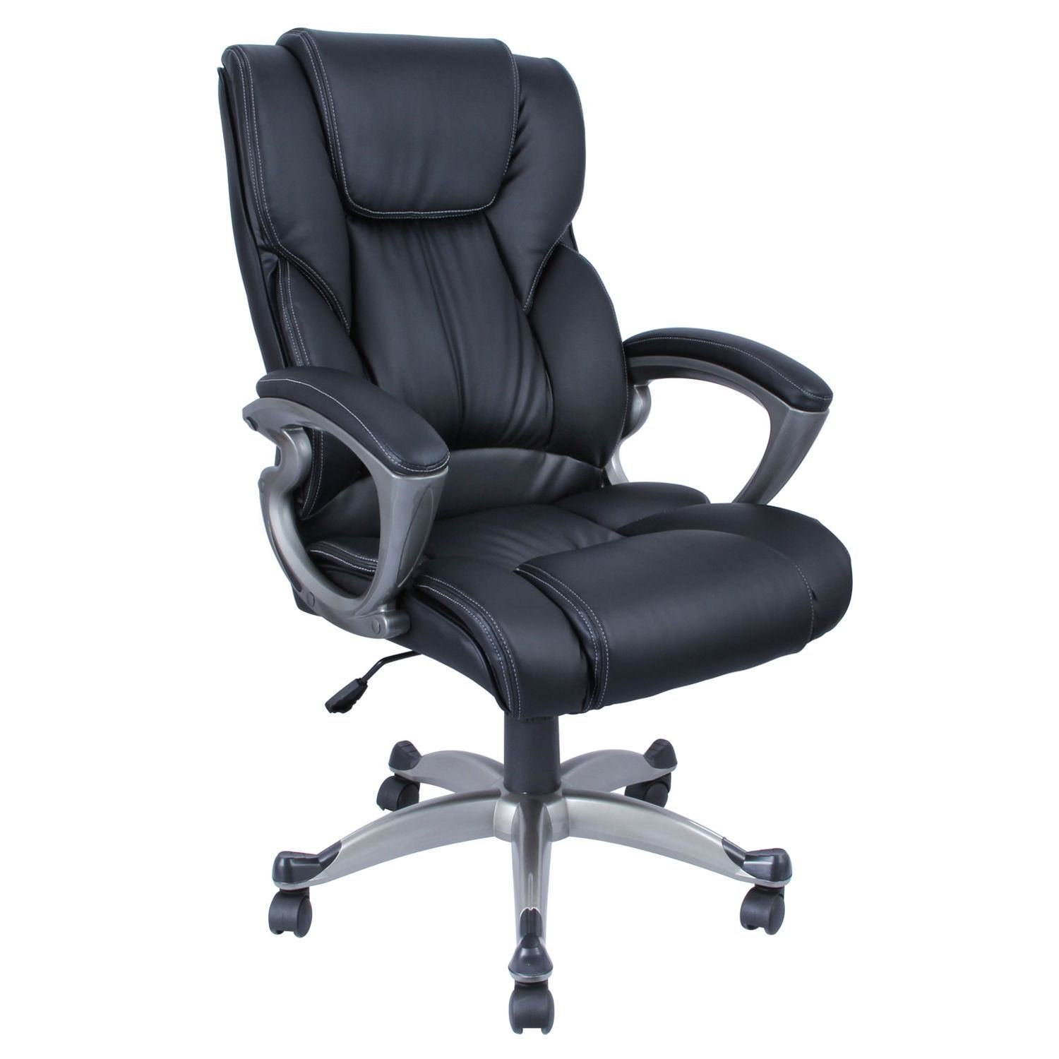 Pu Leather High Back Office Chair Executive Task Ergonomic Computer Desk - Black