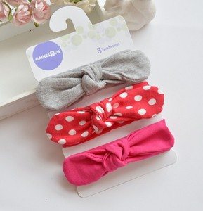 Set Of 3 Knotted Headband Soft Cotton Bows Headband Elastic Baby Turban Toddler Top Knot