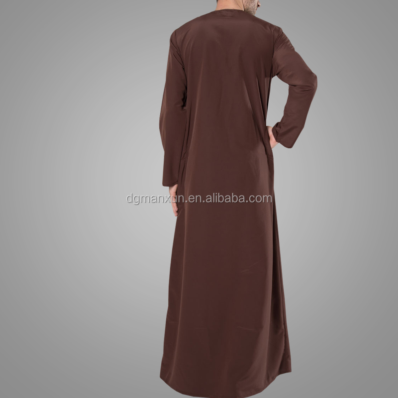 Latest Design Muslim Men's Zipper Thobe Fashion Jubba Islamic Men Clothing Modest Wear