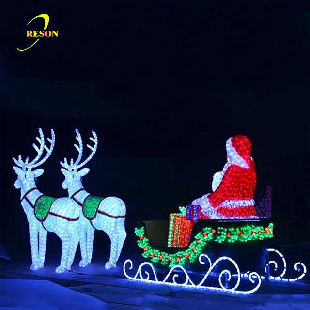 Outdoor Led Garden Lights Santa In Sleigh With Reindeers For