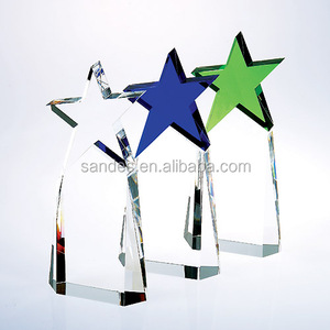 Elegant Clear Crystal Awards with Various Colors Star Top