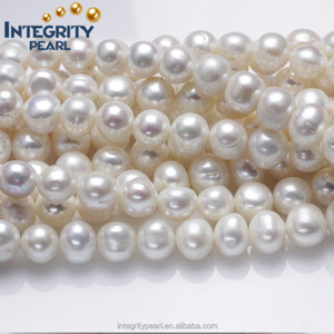 10-11mm wholesale fresh water pearls near round make large holes pearl real natural freshwater cultured loose pearl strand beads
