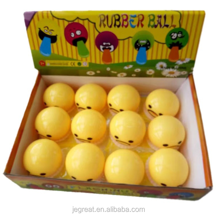 New and hottest anti stress tricky toys vomit egg yellow yolk gudetama Rubber ball