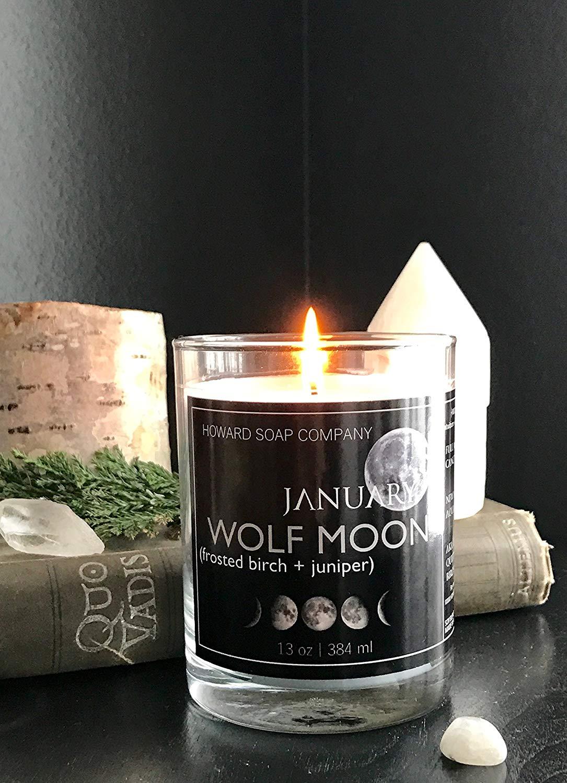 JANUARY WOLFMOON Moonstone Candle>> 13 oz/Frosted Birch + Juniper/Howard Soap Company/Minnesota Made